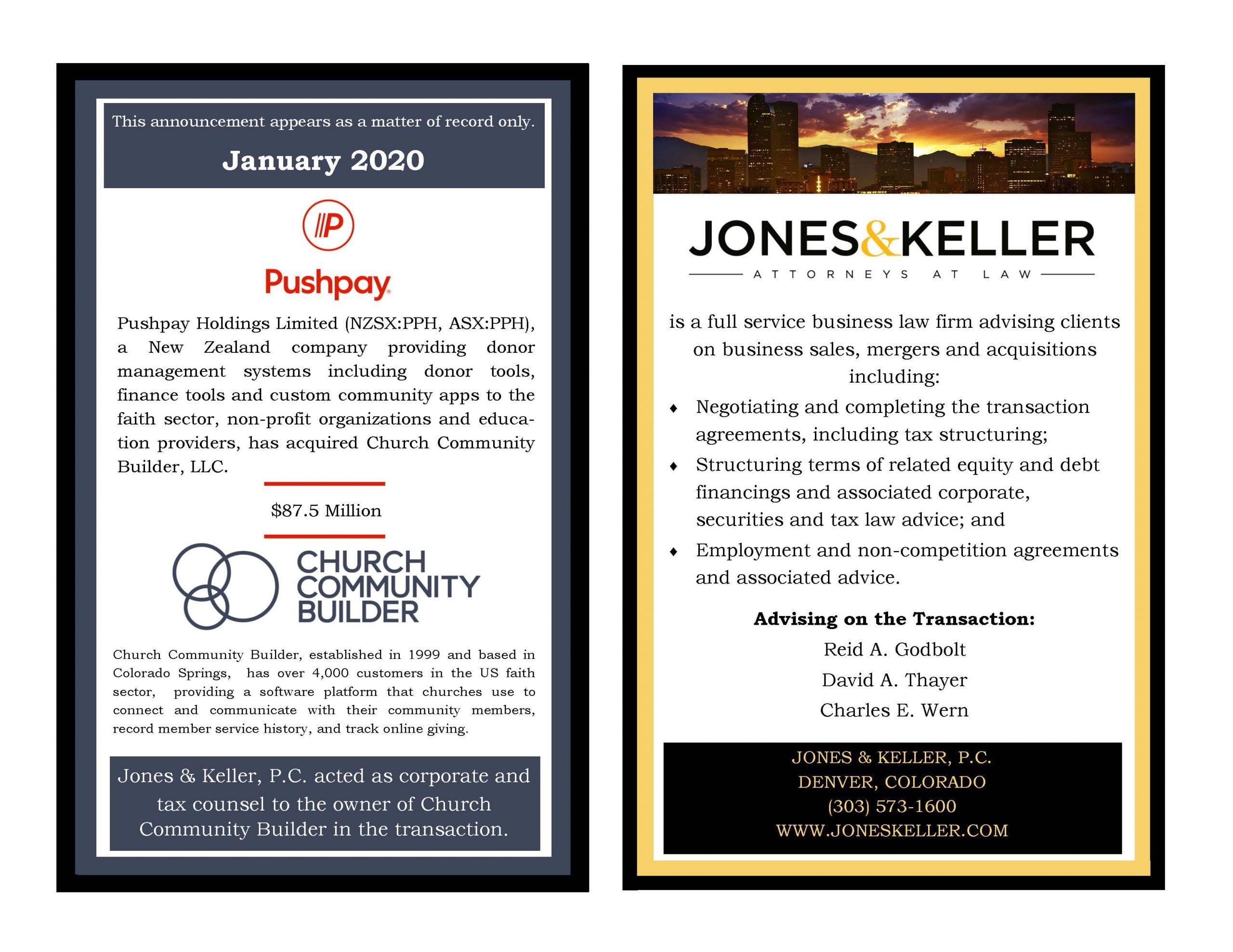 JONES & KELLER ADVISES CHURCH COMMUNITY BUILDER IN ITS ACQUISITION BY PUSHPAY HOLDINGS