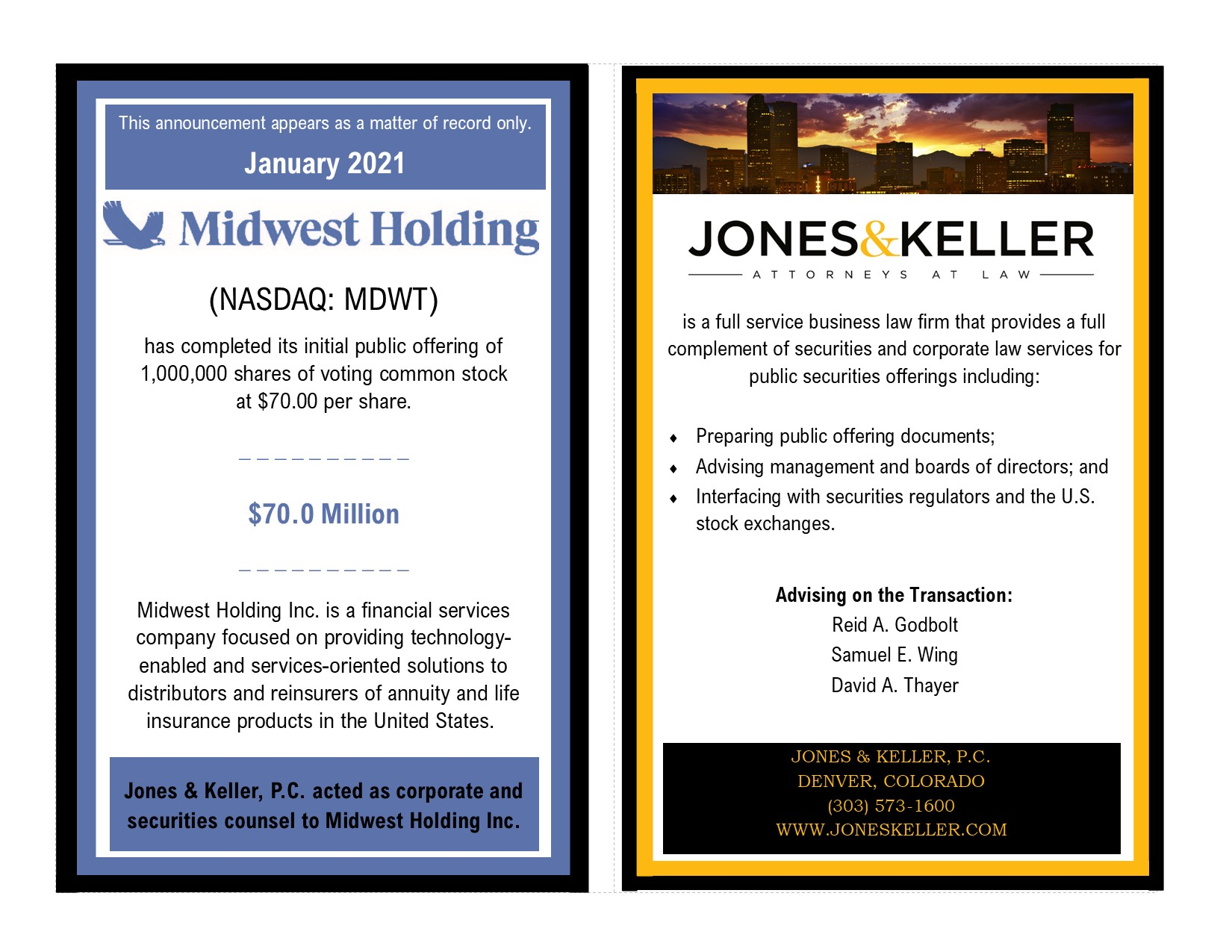 Midwest Holding Public Offering
