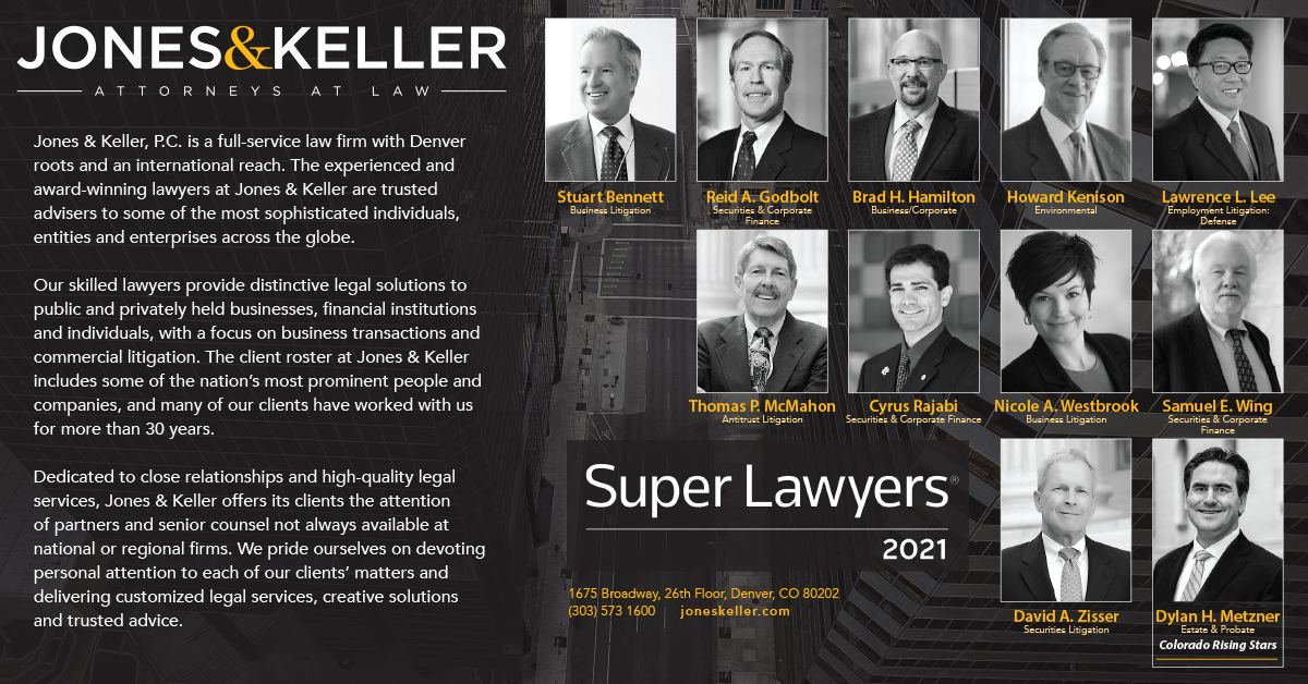 Jones & Keller description of services with 10 Super Lawyers and 1 Rising Stars