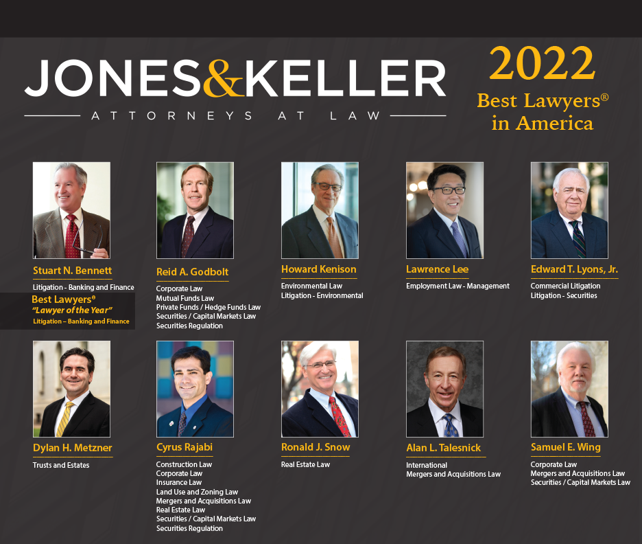 10 Jones & Keller attorneys pictured on Best Lawyers announcement